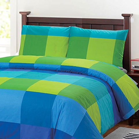 100 Percent Cotton Full/queen Duvet Cover Set with 2 Pillow Cases, Blue Green Large Checkered Pattern , 200 Threat Count