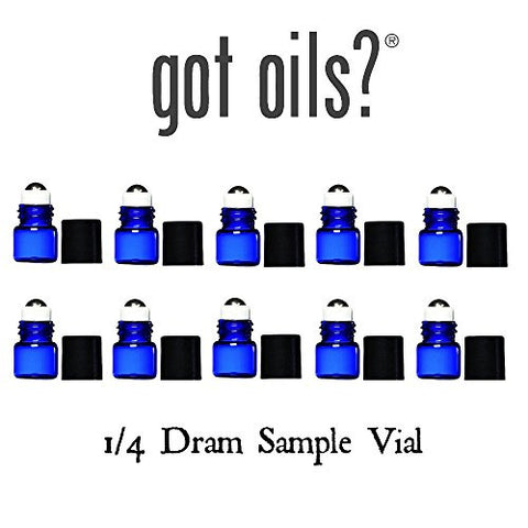got oils? 1/4 DRAM SAMPLE VIAL WITH STAINLESS STEEL ROLLER (QTY OF 10) (Blue)