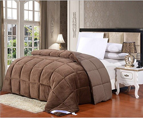 Flannel Goose Down Alternative Comforter , Reversible, Siliconized 7D over-Filled Fiber, Hypoallergenic, Duvet Insert, Barrier on Dust Mites and Allergens ,Full/Queen, 86 Hx86 W