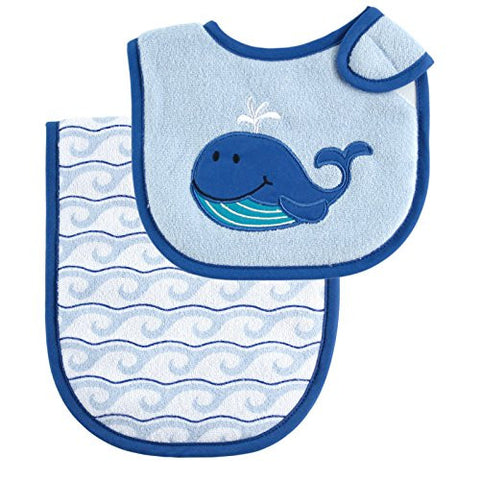 Luvable Friends Bib and Burp Cloth Set, Blue Whale