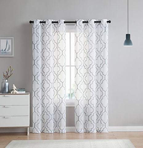 2 Pack: VCNY Home Charlotte Embroidered Quatrefoil Trellis Semi Sheer Curtain Panels - Assorted Colors & Sizes (96 in. Length, Grey)