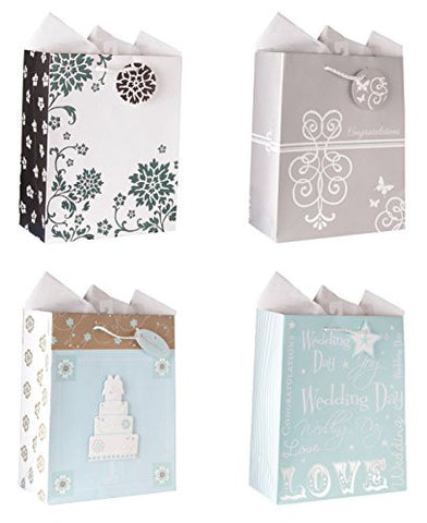 Wedding Gift Bags Set of 4 Medium Wedding Gift Bags W/ 4 Elegant Designs Embellished with Iridescent Glitter, Tip-ons, and Beautiful Foil Finishes. Also Includes Tissue Paper