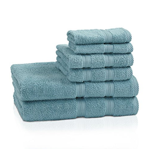 Superior 100% Cotton Smart Dry Zero Twist 6-piece towel set, Incredibly Soft, Highly Absorbent, Quick Drying Towels, 2 Bath Towels, 2 Hand Towels, 2 Wash Cloths, Turquoise