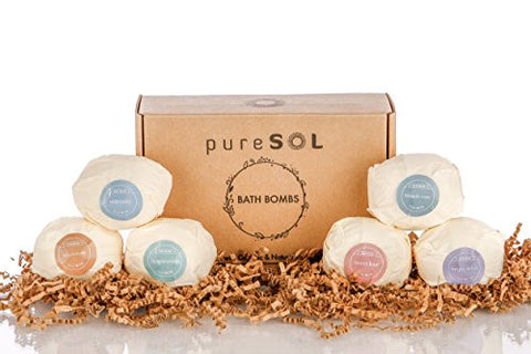 pureSOL Bath Bombs - Treat Yourself to a Relaxing & Luxurious Bath Time - Natural & Organic - Bath Bomb Essential Oils - Soothes Joints & Muscles - Bath Bomb Gift Set
