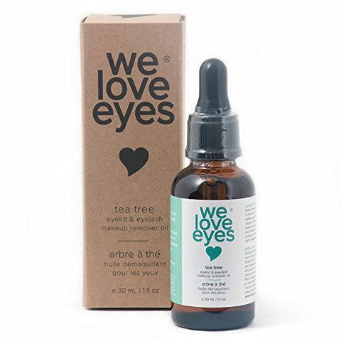 We Love Eyes: Tea Tree Eyelid & Eyelash Makeup Remover Oil - Vegan. All natural. Cruelty free. Removes waterproof mascara.