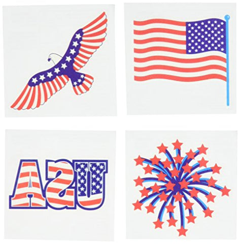 Star Spangled Fourth of July Party Patriotic Stars and Stripes Assorted Temporary Tattoo Favours, Paper, 4 x 4