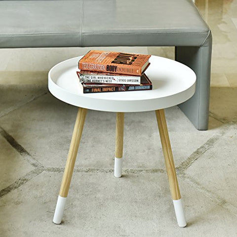 WELLAND Side/End/Sofa/Snack Table Wood Tray Night Stand (Approx 20-Inch Tall, White)
