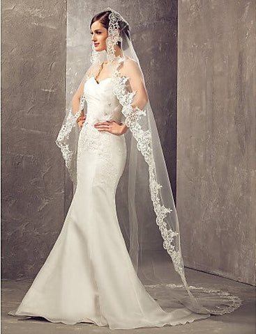 Aukmla One Tier Cathedral Wedding Bridal Veils with Lace Edge (Ivory)