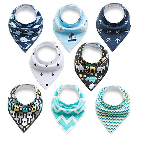 Baby Bandana Drool Bibs for Drooling and Teething, 100% Cotton Bandana Baby Bibs Gift Set For Boys & Girls, Absorbent Washable Comfortable and Adjustable Neckerchief (BC084)