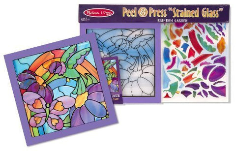 Rainbow Garden 'Stained Glass': Peel & Press Sticker By Number Series + FREE Melissa & Doug Scratch Art Mini-Pad Bundle [42642]