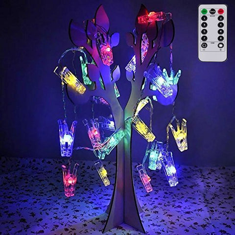 LED Photo String Lights with Remote Control, Magnolora 20 Photo Clips Battery Powered Fairy Twinkle Lights, Wedding Party Christmas Home Decor Lights for Hanging Photos, Cards and Artwork Multicolor
