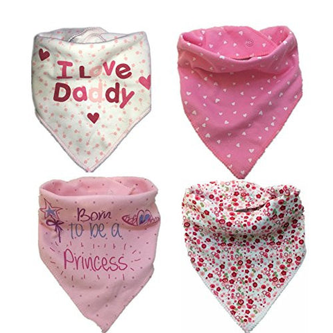 Baby Bandana Drool Bibs, Pink Absorbent Cotton Bibs with Snaps , Soft Cotton & Waterproof Fleece Backing Layer, Cute Baby Gift for Girls (ColorB)