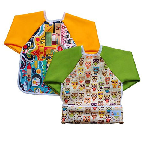 LBB Cute Waterproof Roll up Pocket Baby Bibs Smock with Long Sleeves(2pcs Pack)Fit babies 6-36 Months, Owls and Cityscape