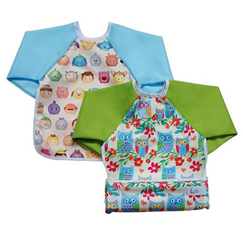 LBB Cute Waterproof Roll up Pocket Baby Bibs Smock with Long Sleeves(2pcs Pack)Fit babies 6-36 Months, Owls Flowers and Cute Face