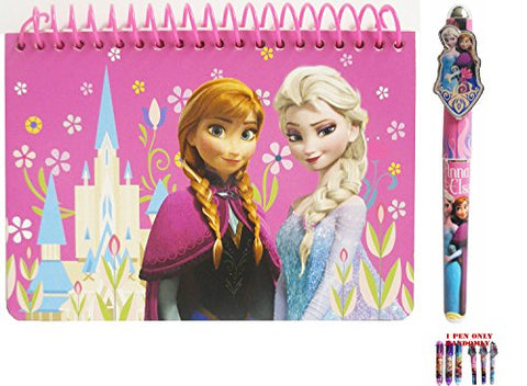 Disney Frozen Elsa and Anna Pink Spiral Autograph Book and 1 Pen