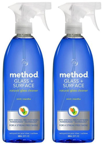Method Natural Glass + Surface Cleaner - Mint - 28 oz - 2 pk