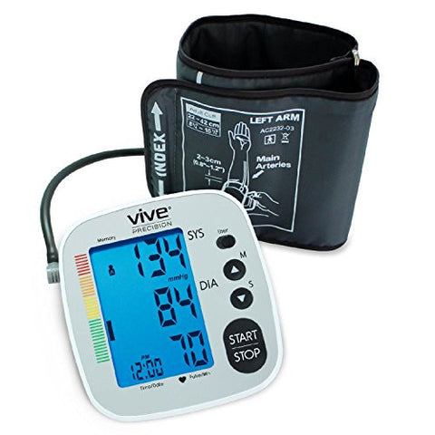 Blood Pressure Monitor by Vive Precision - Automatic Digital Upper Arm Cuff - Accurate, Portable and Perfect for Home Use - Electronic Meter Measures Pulse Rate - 1 Size Fits Most Cuff, Silver