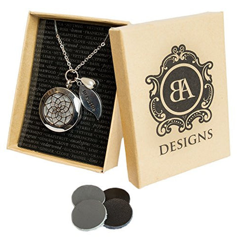 Stainless Steel Essential Oil Diffuser & Aromatherapy Locket Necklace, Hypo-Allergenic 316L Surgical Grade Stainless Steel,18 Chain with 2 Extender, Perfect To Use With Young Living & Doterra Oils