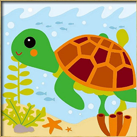 Diy oil painting, paint by number kits for kids - Little turtle 8X 8.