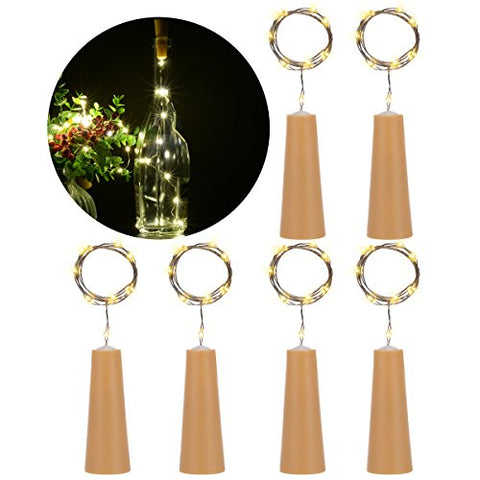 PChero 6 PCS Bottle Cork Copper Wire LED String Lights for Wine Bottle DIY, Craft Projects, Home Decoration, Party, Halloween Holidays, Christmas, and Wedding Dcor - Warm White Light
