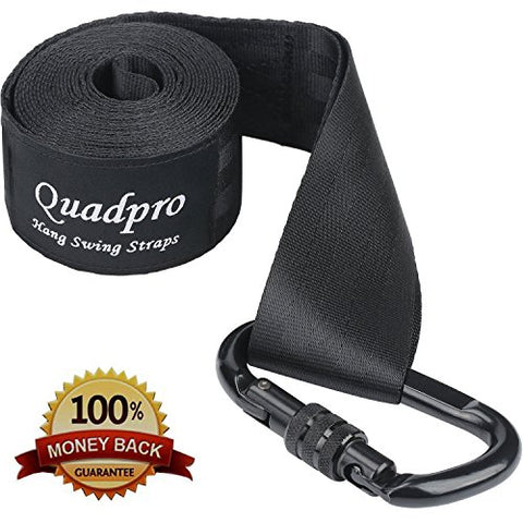 Quadpro Tree-Swing Hanging Strap Kit for Tree Hammock Camping Hammock Includes a of 118 Inches Durable Hang Swing Straps+Holds Up 5500+Lbs Heavy Duty Hooks+Carrying Pouch (Black)
