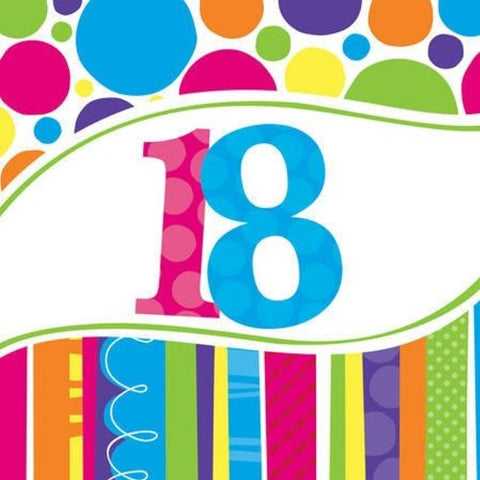 Creative Converting 18 Count Bright and Bold 18th Birthday Lunch Napkins,