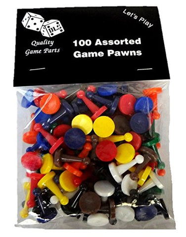 100 Assorted Game Pawns - 10 Colors - 10 of Each Color