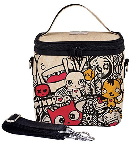 SoYoung Large Cooler Bag - Raw Linen, Eco-Friendly, Retro-Inspired, Leakproof, Easy to Clean - Pixopop Pishi and Friends