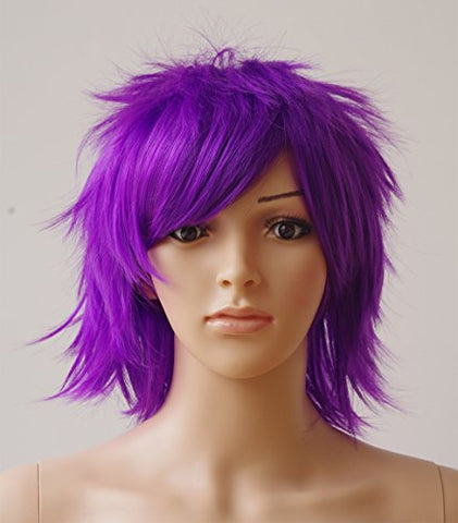 Purple Short Cosplay Synthetic Wig Anime Wig with Bangs 20 Styles Layered Fluffy Hair Oblique Fringe Full Head Unisex for Man and Women Girls Lady Fashion (Purple)