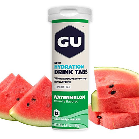 GU Hydration Electrolyte Drink Tablets, Watermelon, 8 Count