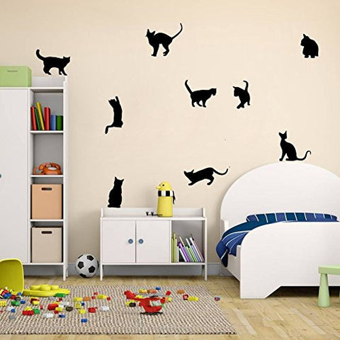 Amaonm® Removable DIY Cute Cartoon Black Cat Wall Decor Kids room Wall Sticker Lovly Playing Cat Wall Decals Peel Stick FOR Girls Children Bedroom Classroom Nursery Room Wall Corner (30*57cm)