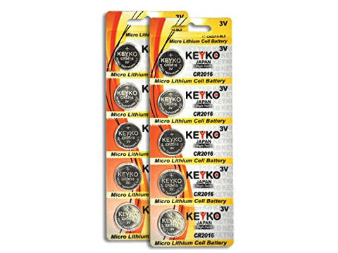 CR2016 3V Micro Lithium Coin Lithium Cell Battery 2016. Genuine KEYKO ® - 10 pcs Pack (2 Blisters)