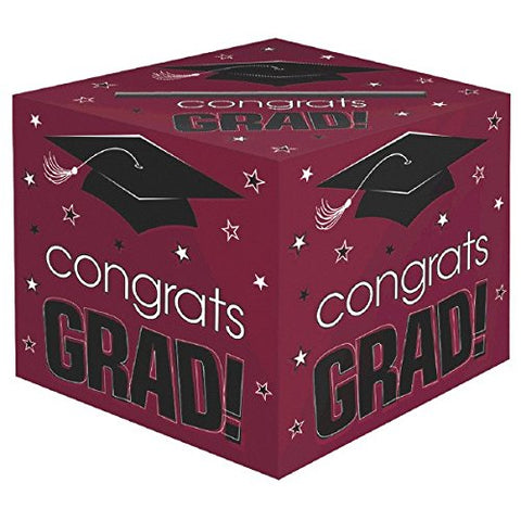 School Colors Graduation Party  Congrats Grad!  Card Box Holder, Berry, Black and White, Paper, 12  x 12  x 12