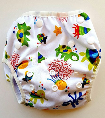 Swim Diaper - Reusable and Adjustable for Babies 0 to 12 months and Toddlers up to 3 years by Eco-Friendly Terra Baby (Under the Sea)