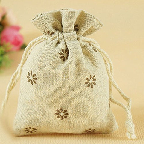 G2PLUS® 20 PCS Cotton Burlap Drawstring Pouches Gift Bags Wedding Party Favor Jewelry Bags 3.5'' x 4.7'' (Brown Daisy)