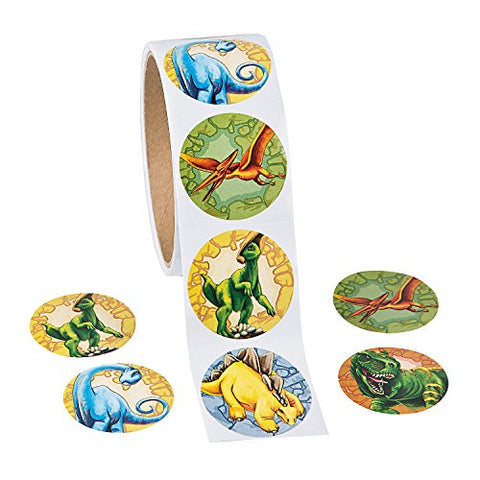 Roll of Dinosaur Stickers  1 1/2