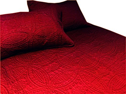 Cozy Bed 2 Piece Quilt Set, Twin, Solid, Crimson