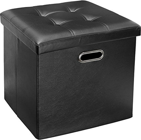 Greenco Faux Leather, Tufted, Ottoman Stool Seat and Foot Rest, Collapsible, Versatile Storage Box-Black