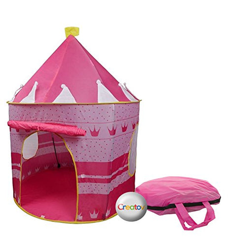 Children Play Tent Girls Pink Castle for Indoor/Outdoor Use, Foldable with Carry Case By Creatov