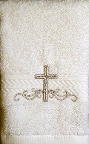 Integrity Designs Linen Cotton Terrycloth Baptism/Christening Cloth, White with Silver Cross Embroidery, 100% Cotton Premium Quality, 13 x 13 Inch Size, Quantity of 1 per package, Elegant and Practical Heirloom Baby Keepsake Gift