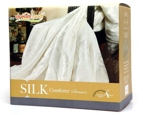 Dreamland Comfort All Natural Mulberry Silk Comforter for Summer, Queen