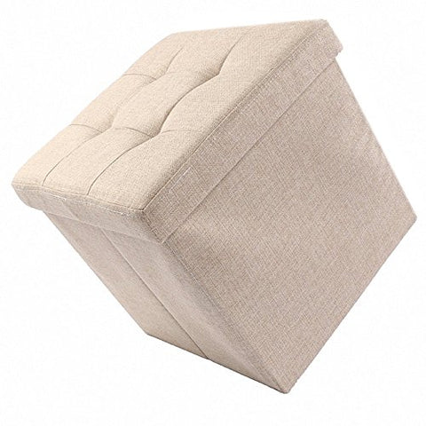 Ottoman with Storage,Storage Ottoman Linen Foldable Stool,Storage Cube Basket Bins Organizer Containers,Collapsible 15  Cube ,Foot Rest Seat,Children Toys Collection (taupe)