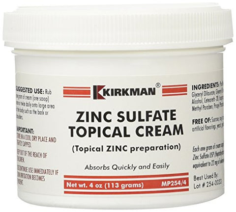Zinc Sulfate Topical Cream 4 oz
