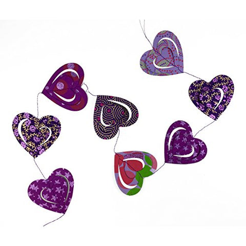 Handcrafted Paper 3D Purple Heart Garland