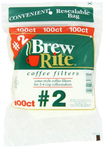 Brew Rite #2 Cone Coffee Filters, White Paper, 100-Count Bags