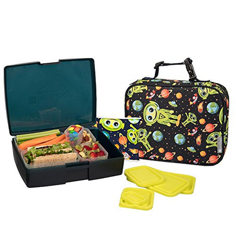 Bentology Lunch Bag and Box Set for Boys - Includes Insulated Sleeve with Handle, Bento Box, 5 Containers and Ice Pack - Alien