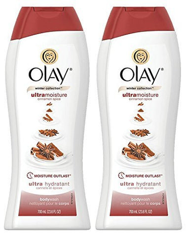Olay Body Wash - Ultra Moisture - Limited Edition Cinnamon Spice - Winter Collection - Net Wt. 23.6 FL OZ (700 mL) Per Bottle -