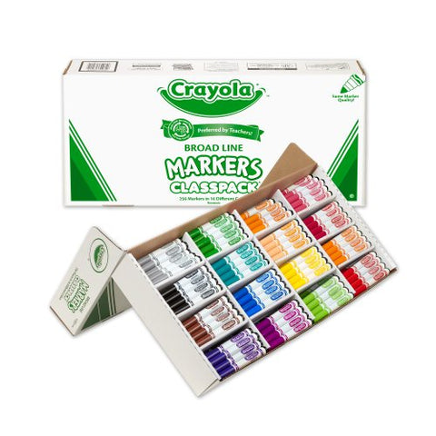 Crayola Classpack Assortment, 256ct Broad Line Markers, 16 Bold Colors, Great for Classroom, Educational, All-Purpose Art Tools