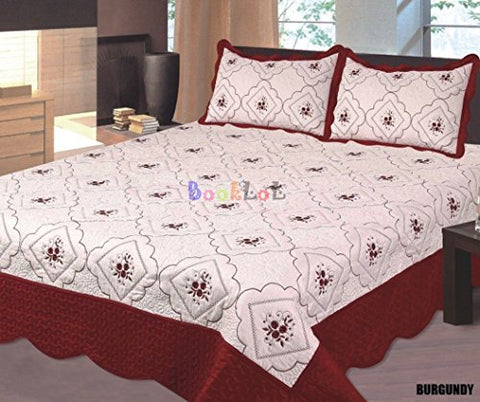 Big 7 Home Burgundy Floral W/milk White Embroidery King Size 100% Polyester Bed Cover Bedspread Set Quilt Coverlet Ensemble Two Shams (King, Burgundy)