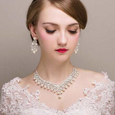 Bridalvenus Luxuriant Wedding Bridal Jewelry Set Earrings and Necklaces with Rhinestones and Pearls for Women and Girls
